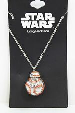Disney Star Wars BB-8 Droid 3D Bling Spinner Long Necklace Silver Tone NEW
