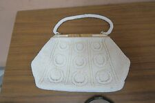 Hong Kong Vintage Retro Micro Beaded Evening Bag Purse - Mother of Pearl Closure