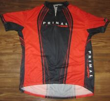 Primal Mens 3/4-Zip Cycling Jersey, Red, Black, Polyester, Size 3XL, EUC