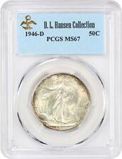 1946-D 50c PCGS MS67 ex: D.L. Hansen - Superb Gem - Walking Liberty Half Dollar