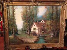 Mid Century Landscape Barn Cottage Windmill River Farm Oil Painting Signed Bauer
