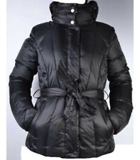 GEOX BLACK DOWN FEATHER GOOSE PADDED PUFFER COAT JACKET BELT HOOD 12