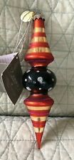 Midwest Of Cannon Falls Halloween Ornament - Orange And Black Glass Finial