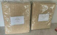 Pottery Barn Emery linen COTTON lined 50x108 drape TWO PANELS wheat