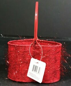 """Valentines Day Basket Red New Metal Fabric Sparkle Accents Small 8""""Hx5.5""""Lx3.5""""D"""