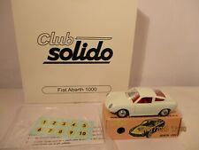 SOLIDO FIAT ABARTH 1000 REEDITION SERIE100 + BOITE COFFRET CLUB SOLIDO + DECAL