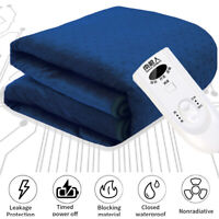 Electric Blanket Heated Thermal Under Luxury Single Bed Fleece Heat Control