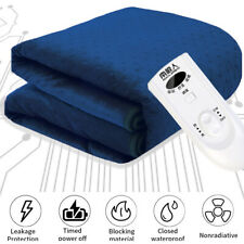Electric Blanket Heated Thermal Under Luxury Single Bed Fleece Heat Control Blue