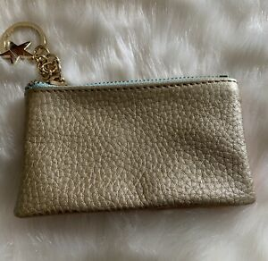 Oliver Bonas Key Ring Coin Card Mini Pouch Wallet Gold Peach Contrast Sides.