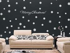 MERRY CHRISTMAS & 72 SNOWFLAKES Vinyl Wall Window Decals Art Holiday Decor
