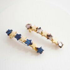 Shell Tort - Single One - Nwot Madewell Acetate Star Beads Barrette Gold & Navy