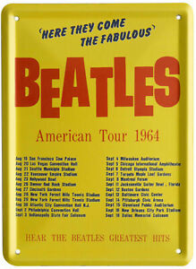 The Beatles 1964 AMERICAN TOUR Metal Wall Sign Steel Plaque Gift (20cm x 30cm)