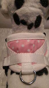 Hundegeschirr XS, Brustgeschirr, weiß rosa gepunktet  Softgeschirr, Halsband,