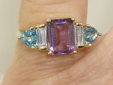 14K SOLID GOLD APPROX. 2 CTW. AMETHYST & AQUAMARINE RING!