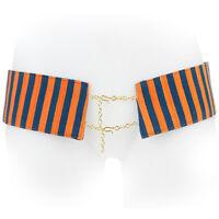 Stella Jean Orange Blue Regimental Stripe Chain Fastening Hip Belt IT46 UK14