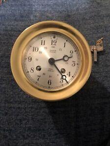 Vintage Brass Salem Ships Bell 8 Day Jeweled Clock Germany with Key