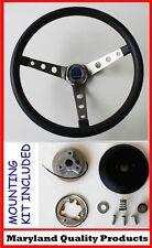 "Dodge Dart Charger Demon Black Steering Wheel 15"" Round Holes Stainless Spokes"