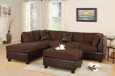 Sectional Sofa Modern Chocolate Microfiber Sofa Chaise w/ Cocktail Ottoman
