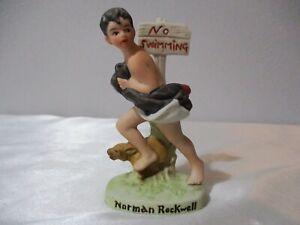 "VTG.1979 NORMAN ROCKWELL MINIATURE PORCELAIN ""NO SWIMMING"" FIGURE"
