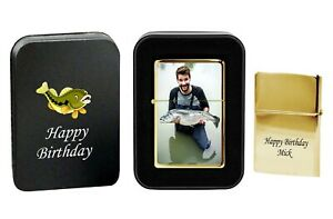 PERSONALISED PETROL LIGHTER YOUR PHOTO TEXT PRINTED METAL BOX BIRTHDAY GIFT