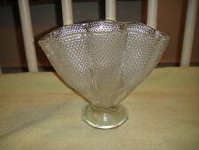 Vintage Clear Glass Hobnail Vase-Napkin Holder Shaped-Footed-Scalloped-Unique