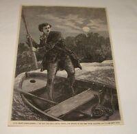 1877 magazine engraving ~ MAN vs SNAKE