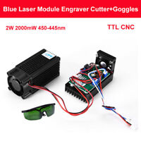 High Power Diode Laser 2W Focusable Blue Laser Module 450nm+ TTL Driver Replaces