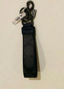 COACH Signature Coated Canvas & Leather CC Lg Loop Key Fob' Men's Charcoal gray