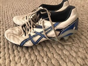 Mens Asics Leather Blue & White Footy Boots US 10.5