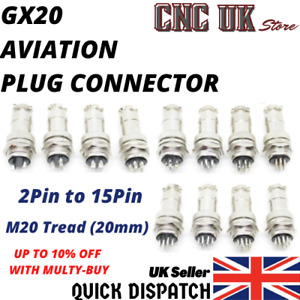 GX20 Aviation Plug 2Pin To 15Pin 20mm Metal Male+Female Panel Cable Connector UK
