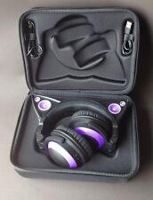 *Brookstone Purple LED Light Up Wired Cat Ear Headphones Headset Speakers