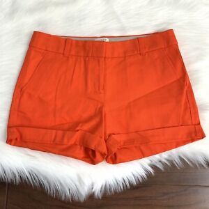 J Crew Women's Size 2 Fiery Orange Textured Cotton Casual Shorts C0813