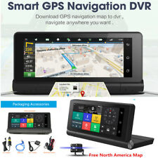 4G 6.8''HD 1080P Car DVR GPS Navi Dual Cam Dash Video Recorder Bluetooth Android