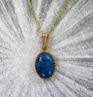 Aquamarine Gemstone Pendant Necklace in 14kt Rolled Gold Setting