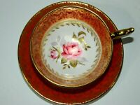 Vintage Aynsley Burnt Orange Gold Pink Cabbage Rose Tea cup and Saucer