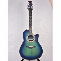 Ovation Pinnacle Acoustic Electric Guitar Transparent Blue Burst w/hard case