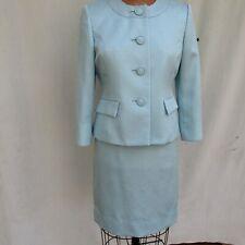 Le Suit Petite Baby Blue Polyester Dressy Skirt Suit 4/3 Sleeve Slim Skirt Sz 4P