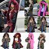 Womens Faux Fur Winter Jacket Parka Hooded Coat Fishtail Long Sleeves Overcoat