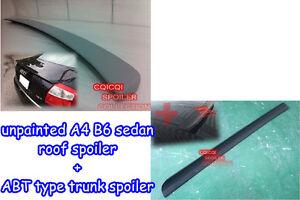 Unpainted 01~05 A4 S4 B6 Sedan roof spoiler + A type trunk spoiler ◎