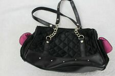 Paris Hilton Black W/Pink Mand Made Cloth Pillowed Effect Zippered Small Handbag