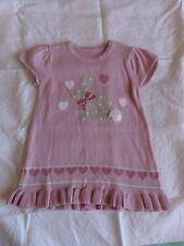 Matalan Girls Pink Rabbit Pattern 100% Cotton Knit Frock Size 6-9 Months