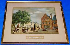 Albany (New York) 1820 Street Scene Early Print Painting 14x11 Framed