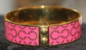 Coach Signature Kissing C Gold Tone  & Pink Enamel Bangle Bracelet