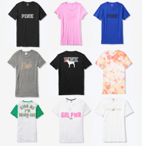 Victoria Secret PINK Campus Crew Tees Womens XS to Large New Oversized T Shirts