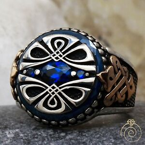 Mens Sapphire Celtic Ring Engagement Jewelry Handmade Wedding Promise For Him