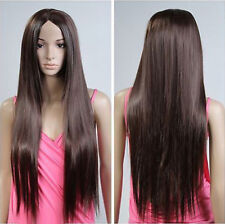 Hot Sell Long Brown Straight Parted Bangs Women Lady Cosplay Hair Wig Wigs + Cap