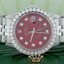 Rolex Datejust 36mm Steel Jubilee Watch w/Candy Red Diamond Dial & 2.7CT Bezel