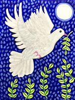Original Painting Dove In Leaves, Peace, Naive/Folk Art, On Board, Bird