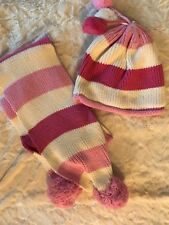 NWT Girls Knit Hat And Scarf Set, Hat Size 7/8, Pink And Ivory, Heavyweight