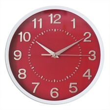 """Decor Silent Wall Clock 10"""" RED Dial 3D Numbers Non Ticking 10 Inches"""